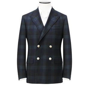 "Green Madras Check ""Super 120's"" Double-Breasted Blazer"