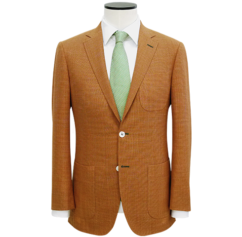 Tailored-Fit Amber Wool-Linen Texture Blazer