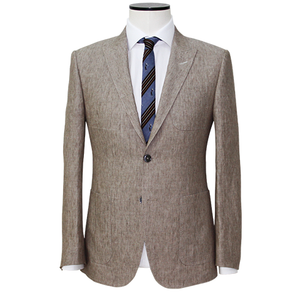 Slim-Fit Light Brown Linen Texture Sport Coat