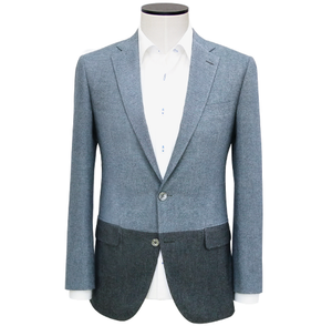 Slim-Fit Grey Two-Tone Cotton Flannel Sport Coat