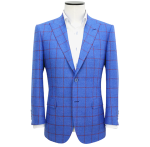 Mid-Fit Cornflower Blue Windowpane Wool Sport Coat