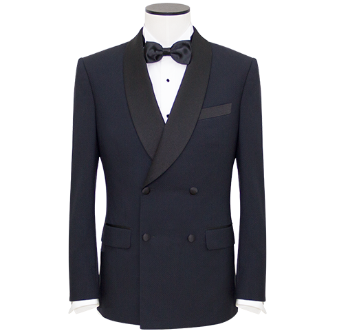 Mid-Night Blue Silk Lapel Double-Breasted Dinner Jacket