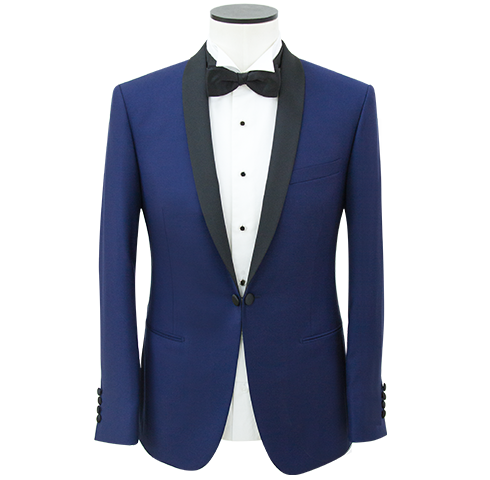 Persian Blue Slim Shawl Lapel Link-front Dinner Jacket