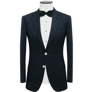 Black Notch Lapel Houndstooth Wool-Silk Dinner Jacket