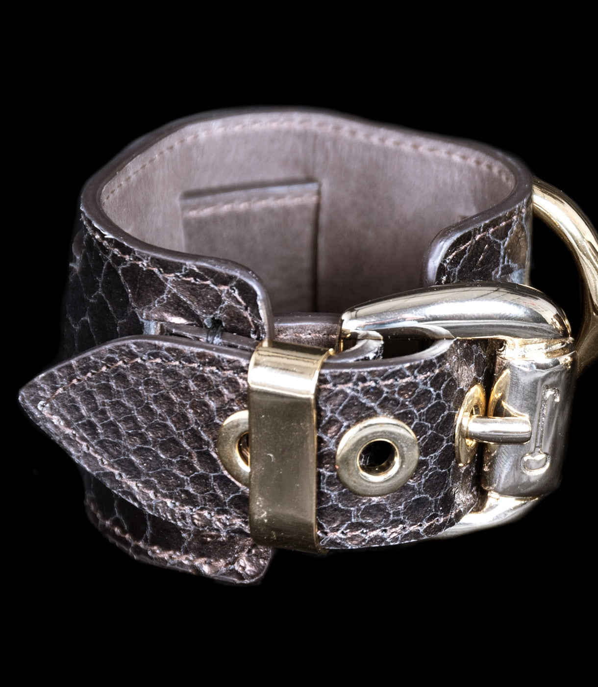 Cuffs Bronze Python Embossed at Xenses