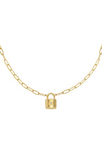 Afbeelding in Gallery-weergave laden, Gold lock necklace