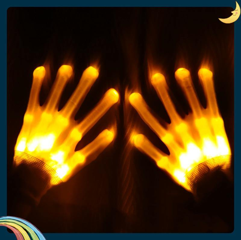 LED Light Up Skeleton Hand Gloves For Halloween