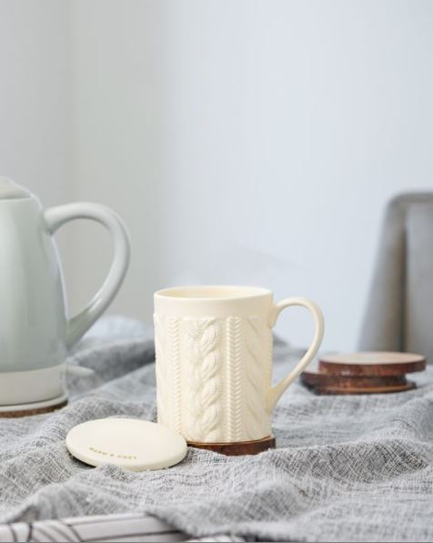 Annette™ Knit Ceramic Tea Mug & Infuser by Pinky Up