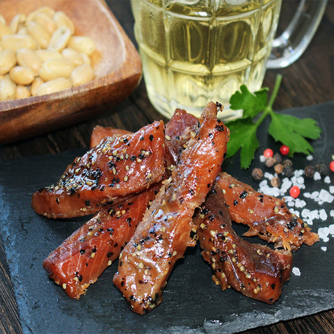 Peppered Maple Glazed Candied Smoked Salmon