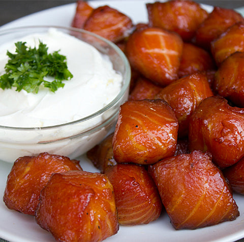 Double Smoked Maple Glazed King Salmon Nuggets 150g