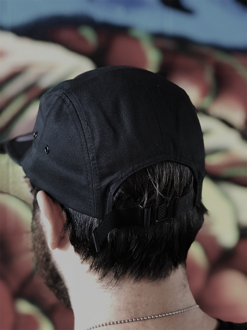 Black 5 Panel Strapback Hat