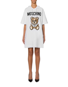 EMBROIDERED TEDDY BEAR HOODED TEE DRESS