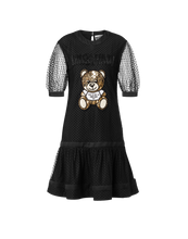 將圖片載入圖庫檢視器 EMBROIDERED TEDDY BEAR PLUMETIS TULLE DRESS
