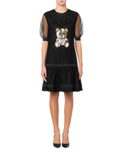 Load image into Gallery viewer, EMBROIDERED TEDDY BEAR PLUMETIS TULLE DRESS