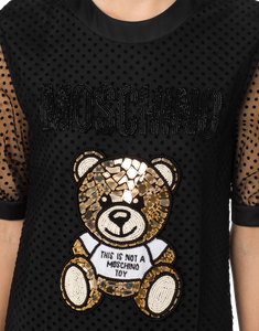 EMBROIDERED TEDDY BEAR PLUMETIS TULLE DRESS