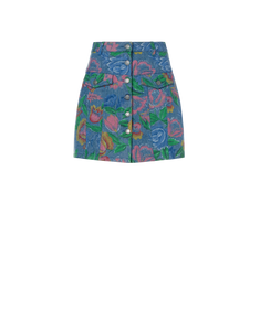 FLOWERS ON DENIM SKIRT
