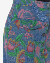 Load image into Gallery viewer, FLOWERS ON DENIM SKIRT