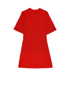 INTERLOCK JERSEY DRESS TEDDY BEAR SAFETY PIN Red