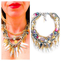 Multi-Strand Swarovski Crystal and Natural Stone Necklace