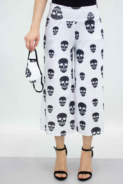Black Skull Cropped Gaucho Pants and Mask