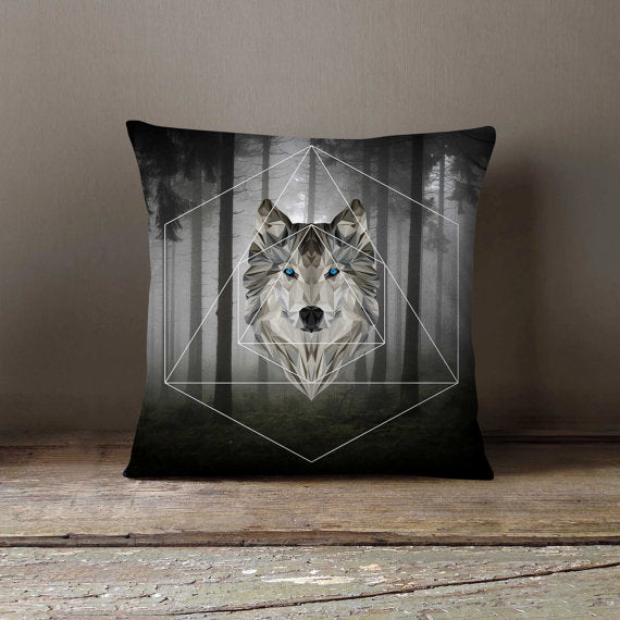 Geometric Wolf Pillowcase - different sizes