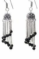 Curving Dangle Chandelier Bead Earrings