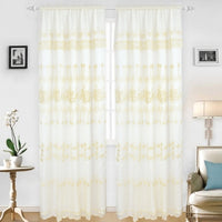 Embroidered Curtains With Backing - Set of 2