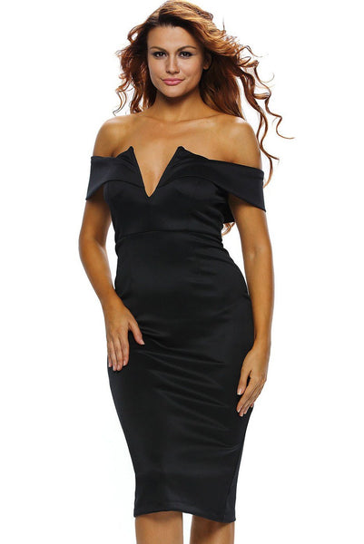Black Sexy V Neck Off-the-shoulder Midi Dress