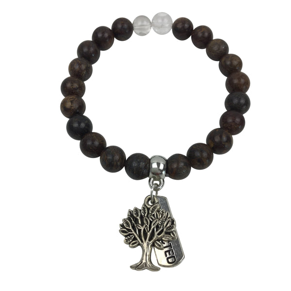 Bronzite with Tree of Life & Protection Charm Bracelet