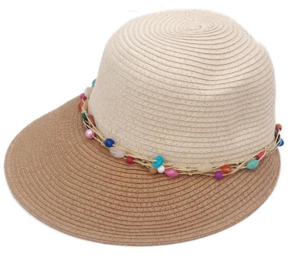 Beaded Two-Tone Visor Hat