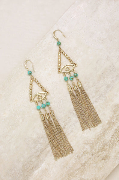 All Eyes On Me Earrings -Turquoise and 18K gold-plated Earrings