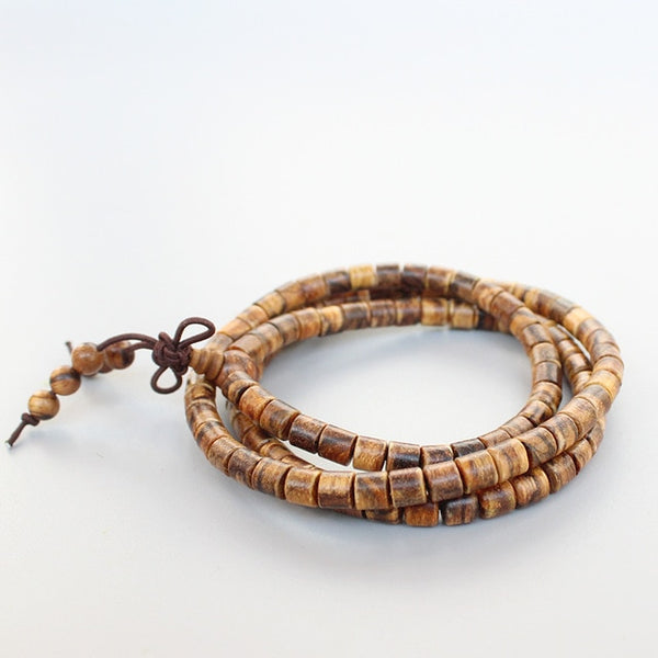 Natural Tiger Skin Wood Prayer Beads