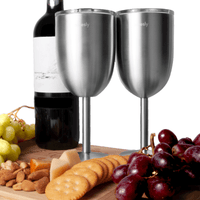 Stainless Steel Wine Goblets (Set of 2); 12 Oz.