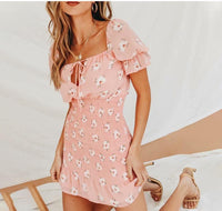 Pink Pleated Bandage Party Mini Chiffon Sundress