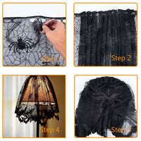 Knitted Curtain Lamp Cover Black Spider