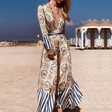 Sexy V Neck Swimsuit Cover Ups Women Summer Printed Long Beach Dress