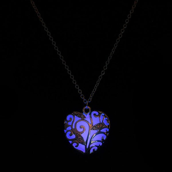 Magical Aqua Blue Heart Glow In The Dark Pendant