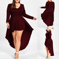 Maternity Sexy v neck pleated dress women - WINE RED