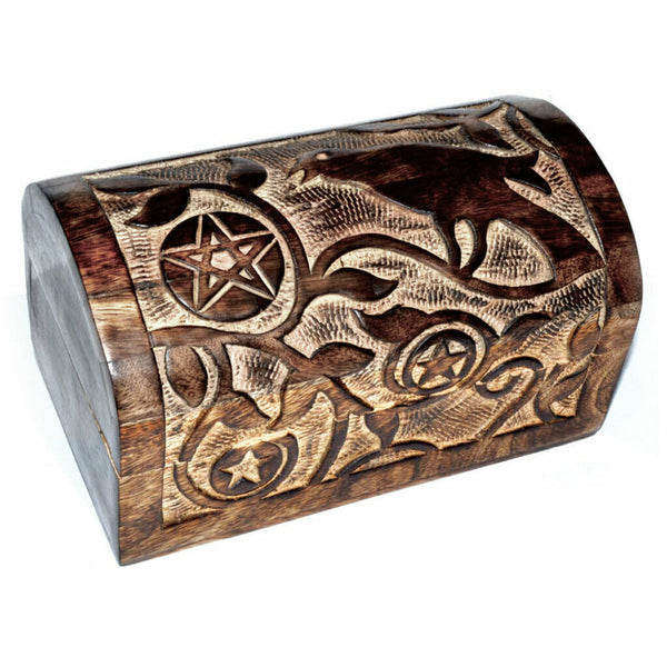 Pentagram Carved Storage Box with Raven 8inches