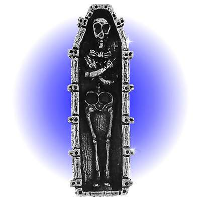 New Pewter Skeleton in Coffin - Lead Free Figurine