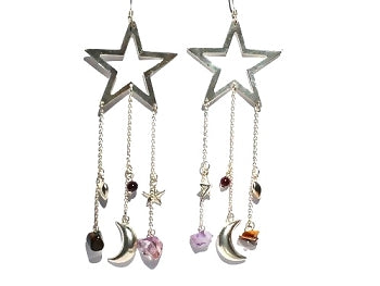 Sterling Silver Star w/ genuine stones moon and heart Earrings