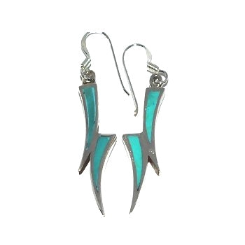 Sterling Silver Genuine Turquoise Inlay Double Horn Small Dangle Earrings