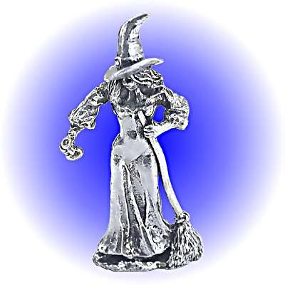 Witch With Broom and Potion Bottle - Pewter Lead Free