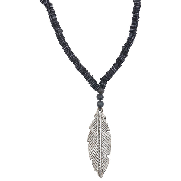 Leather Feather Necklace Made in Haiti