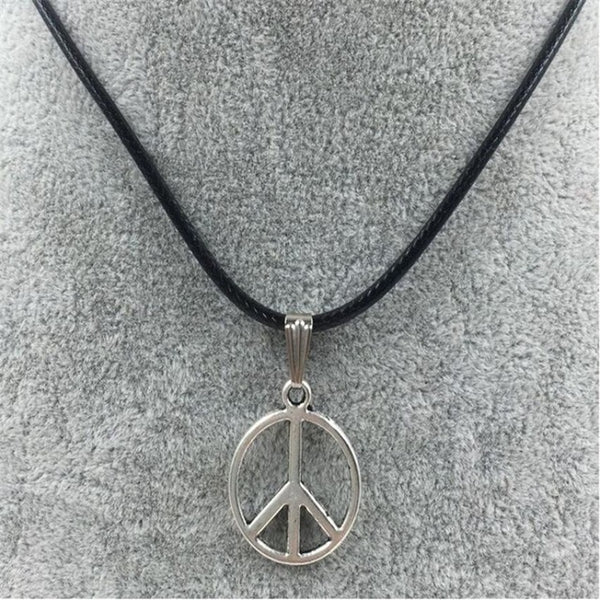 Peace Sign Leather Necklace Retro