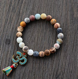 Natural Stone Tibetan OM Stretch Bracelet
