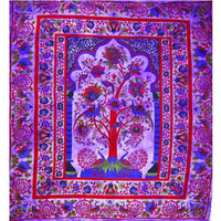 Purple Tree of Life Peacock Tapestry - Large