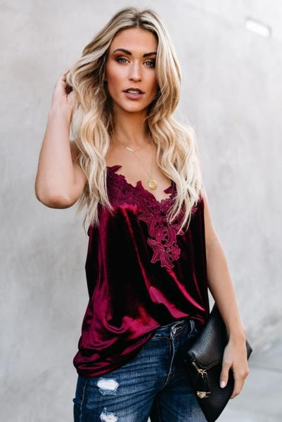 Red Whimsical Velvet Cami Tank Top