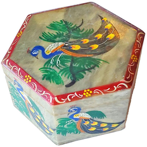 Stately Peacock Soapstone Container