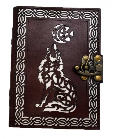 DIE CUT WOLF MOON LEATHER BLANK BOOK OF SHADOWS